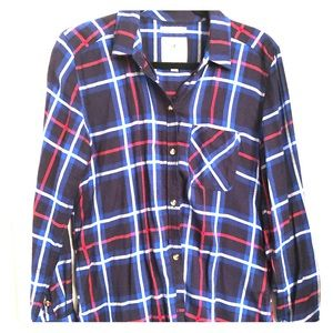 Blue and Red Plaid Button Down Shirt
